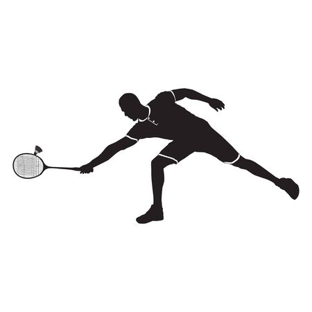 Badminton player with racket and shuttlecock, black silhouette, vector illustration Vettoriali