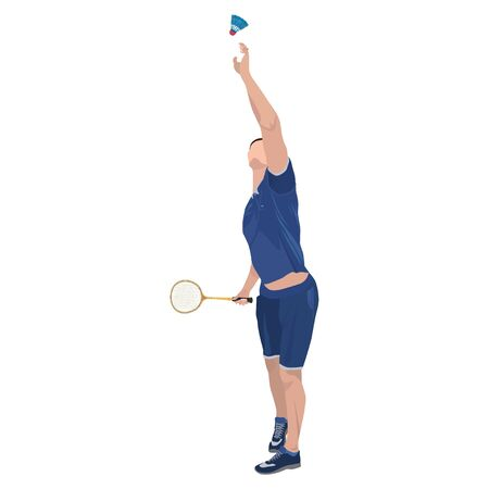 Badminton player with racket and shuttlecock, vector isolated illustration