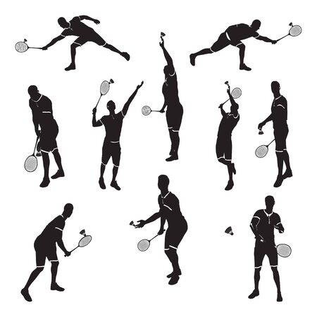 Badminton player with racket and shuttlecock black silhouette set, vector illustration