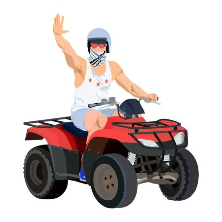 All terrain vehicle rider, vector flat illustration