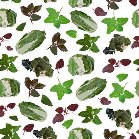 Vector seamless pattern with fresh healthy organic cabbage and spinach