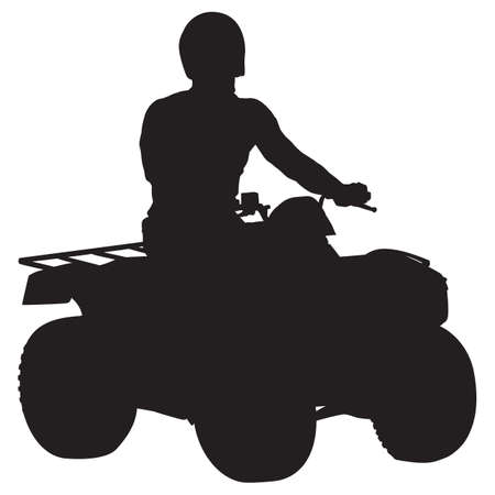 All terrain vehicle rider black silhouette, vector illustration