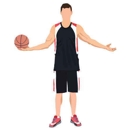 Professional basketball player standing with ball in hand, vector illustration