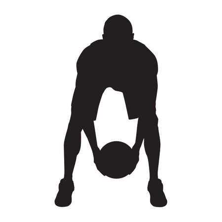 Professional basketball player silhouette with ball, vector illustration. Basketball dribbling skills, moves, tricks. Illusztráció