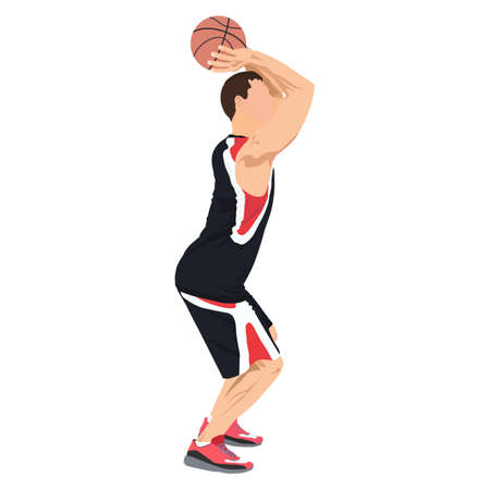 Professional basketball player shooting ball into the hoop, vector illustration