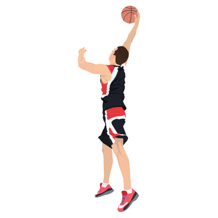 Professional basketball player shooting ball into the hoop, vector illustration. Slam dunk shooting technique