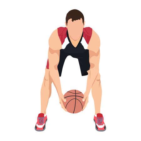 Professional basketball player with ball, vector illustration. Basketball dribbling skills, moves, tricks.