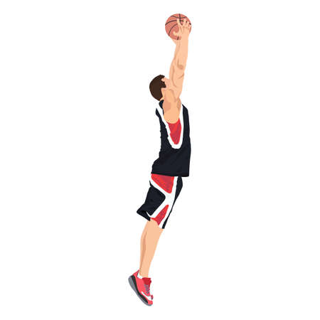 Professional basketball player jumping and shooting ball into the hoop, vector illustration Illusztráció