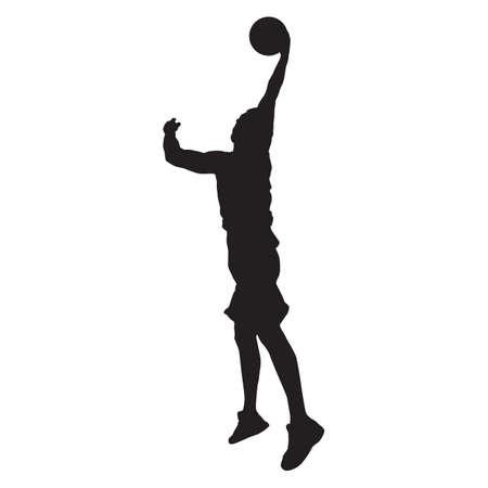 Professional basketball player silhouette shooting ball into the hoop, vector illustration. Slam dunk shooting technique Illusztráció