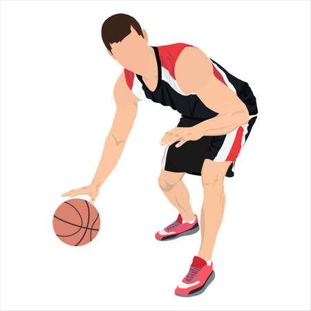 Professional basketball player with ball, vector illustration. Basketball dribbling skills.