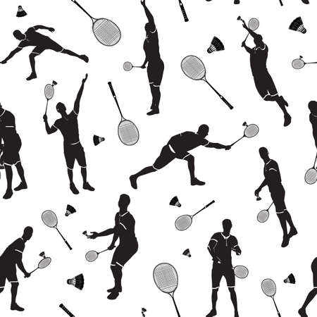 Badminton seamless pattern with badminton player black silhouettes, vector illustration