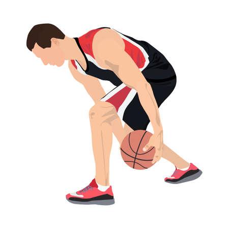 Professional basketball player with ball, vector illustration. Basketball crossover dribbling skills. Illusztráció