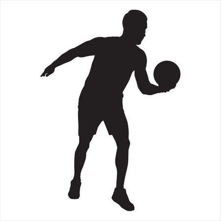 Professional volleyball player silhouette serving the ball, vector illustration