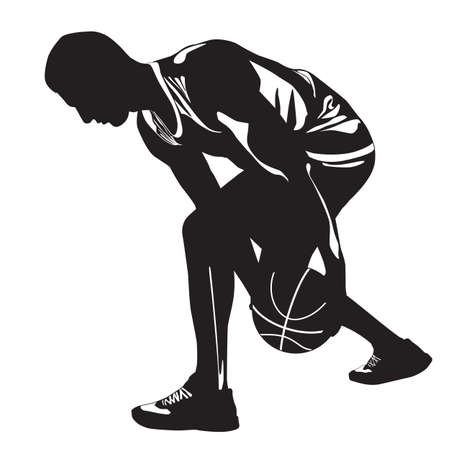 Professional basketball player silhouette with ball, vector illustration. Basketball crossover dribbling skills.