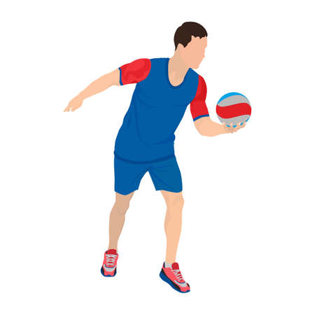 Professional volleyball player serving the ball, vector illustration 向量圖像