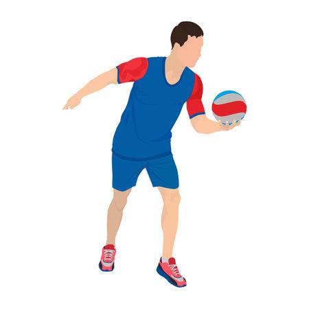 Professional volleyball player serving the ball, vector illustration Illusztráció