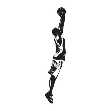 Professional basketball player silhouette jumping and shooting ball into the hoop, vector illustration 向量圖像