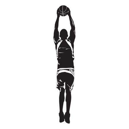 Professional basketball player silhouette jumping and shooting ball into the hoop, vector illustration Illusztráció