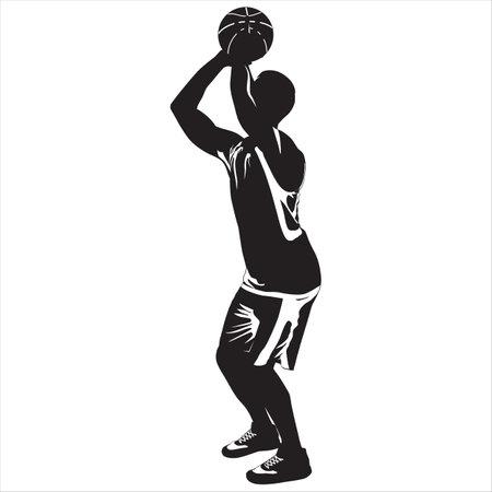 Professional basketball player silhouette shooting ball into the hoop, vector illustration Ilustracja