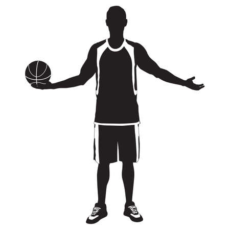 Professional basketball player silhouette standing with ball in hand, vector illustration 向量圖像