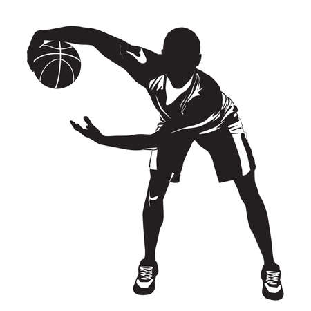 Professional basketball player silhouette with ball, vector illustration. Basketball dribbling skills, moves, tricks. 向量圖像