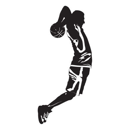 Professional basketball player silhouette shooting ball into the hoop, vector illustration. Slam dunk shooting technique 向量圖像