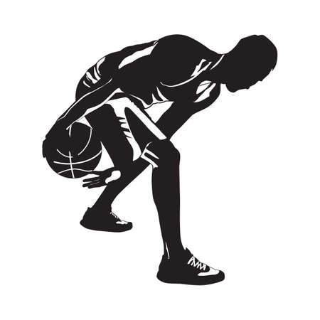 Professional basketball player silhouette with ball, vector illustration. Basketball dribbling skills.