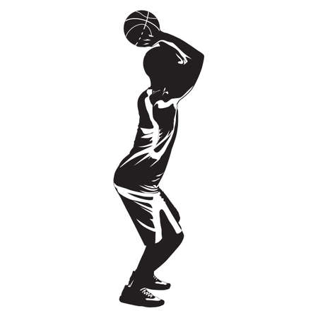Professional basketball player silhouette shooting ball into the hoop, vector illustration 向量圖像