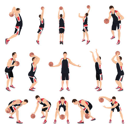 Basketball players, vector illustration. Crossover dribbling, bouncing, passing, shooting ball, free throw, slam dunk.