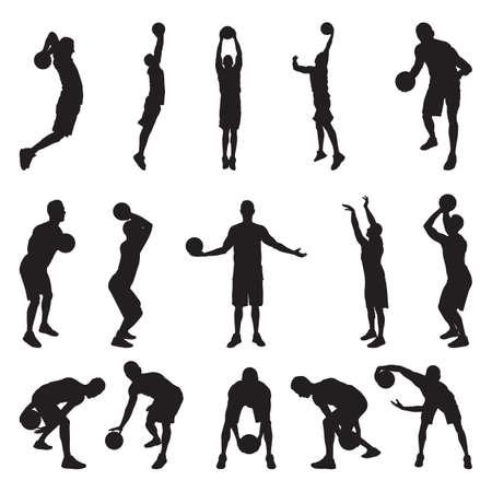 Basketball player silhouettes, vector illustration. Dribbling, bouncing, passing, shooting ball, free throw, slam dunk.