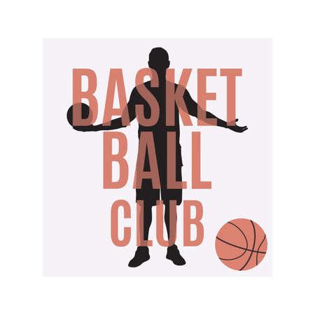 Basketball club emblem, label, print, t-shirt design, vector illustration.