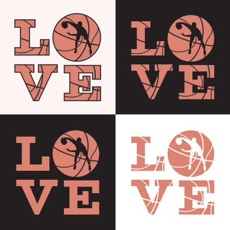 Love basketball print, t-shirt design template. Love quote, ball with basketball player silhouette, vector illustration