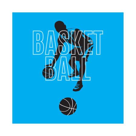 Basketball sport game emblem, label, print, t-shirt design, vector illustration. Basketball dribbling, bouncing skills.