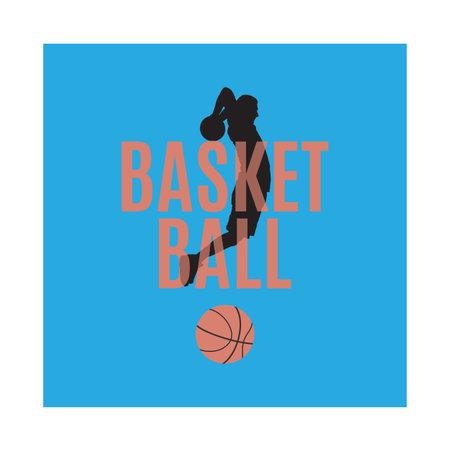 Basketball emblem, label, print, t-shirt design, vector illustration. Basketball shooting technique.