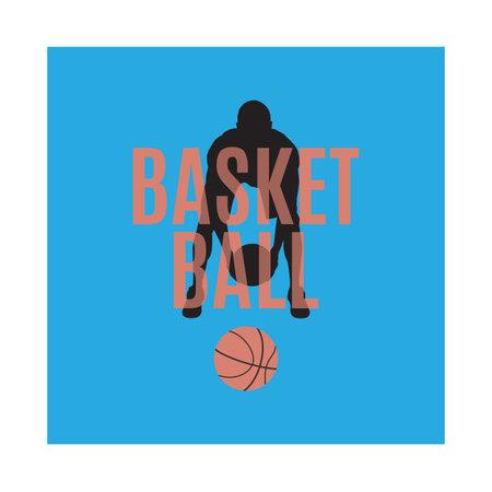 Basketball game emblem, label, print, t-shirt design, vector illustration. Basketball dribbling skills, moves, tricks.