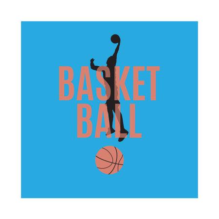 Basketball emblem, label, print, t-shirt design, vector illustration. Slam dunk shooting technique.