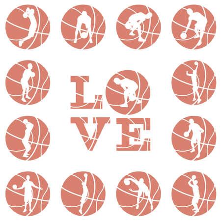 Love basketball print design template
