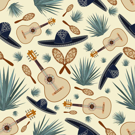 Vector seamless pattern with mexican sombrero hat, guitar, maracas and blue agave plants. Mexican background, wallpaper.