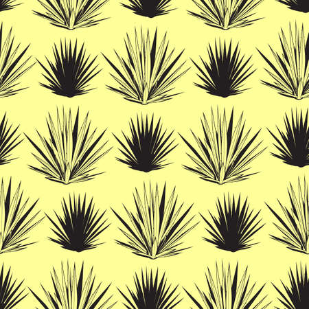 Vector seamless pattern with blue agave silhouettes. Tequila agave succulent plant background, wallpaper