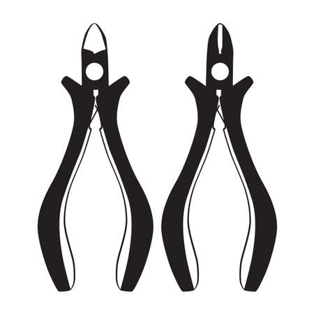 Wire or cable cutters, metal nippers. Electrician, repairman work tool, vector.