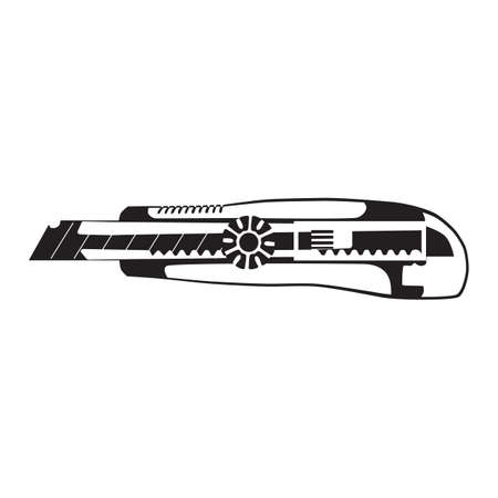 Cutter knife silhouette, vector illustration. Utility knife, retractable blade. 向量圖像