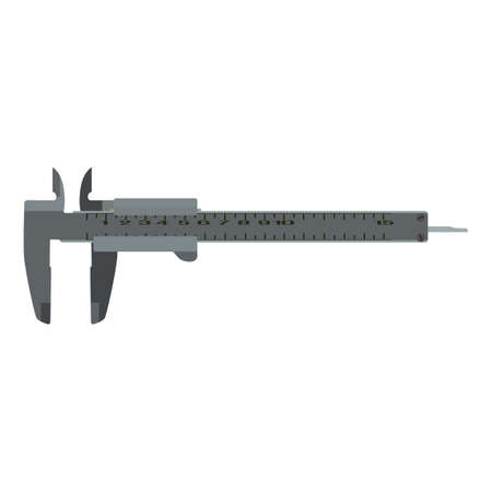 Vernier caliper scale, precise measurement instrument, flat vector illustration. Measuring work tools. 向量圖像