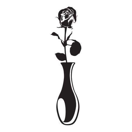 Rose flower in vase black silhouette vector illustration. Blooming garden flower