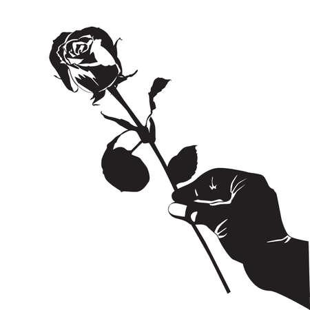 Rose flower in hand black silhouette vector illustration. Blooming garden flower