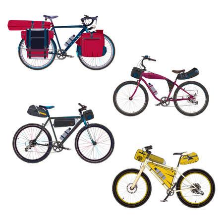 Vector flat set of bikepacking bikes with bikepacking gear