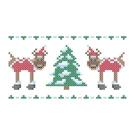 Christmas embroidery, cross stitch ornament. Christmas tree reindeers, vector. 向量圖像