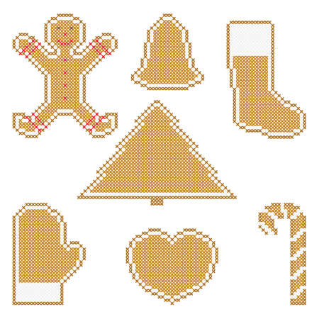Christmas cookies embroidery, cross stitch ornament. Candy cane, gingerbread man