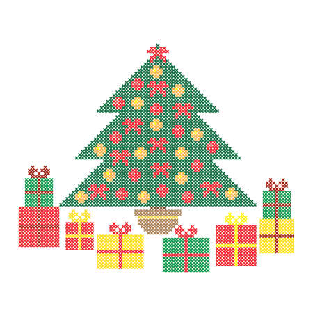 Christmas tree, gift boxes. Embroidery pattern, cross stitch ornament, vector.