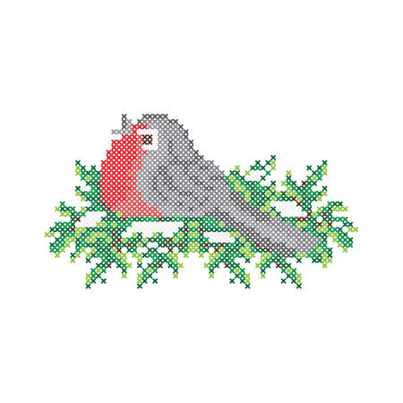 Embroidery pattern, cross stitch ornament. Bullfinch bird on fir tree, vector.