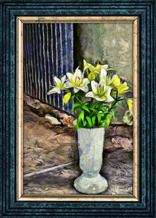 Flowers on the Corner - Pseudo Van Gogh Banco de Imagens